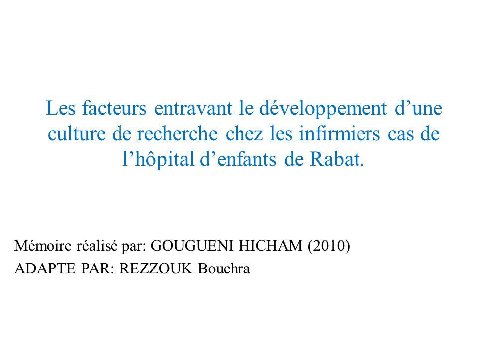 Les facteurs entravant le développement dune culture de recherche chez les infirmiers cas de lhôpital denfants de Rabat. Mémoire réalisé par: GOUGUENI