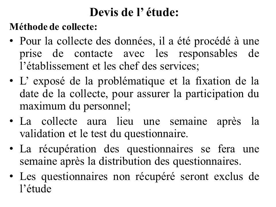 Devis de l étude: Méthode de collecte: Pour la collecte des données, il a été procédé à une prise de contacte avec les responsables de létablissement