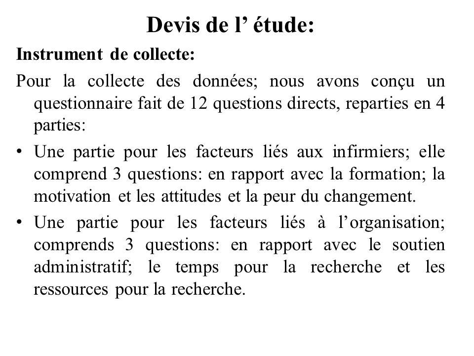 Devis de l étude: Instrument de collecte: Pour la collecte des données; nous avons conçu un questionnaire fait de 12 questions directs, reparties en 4