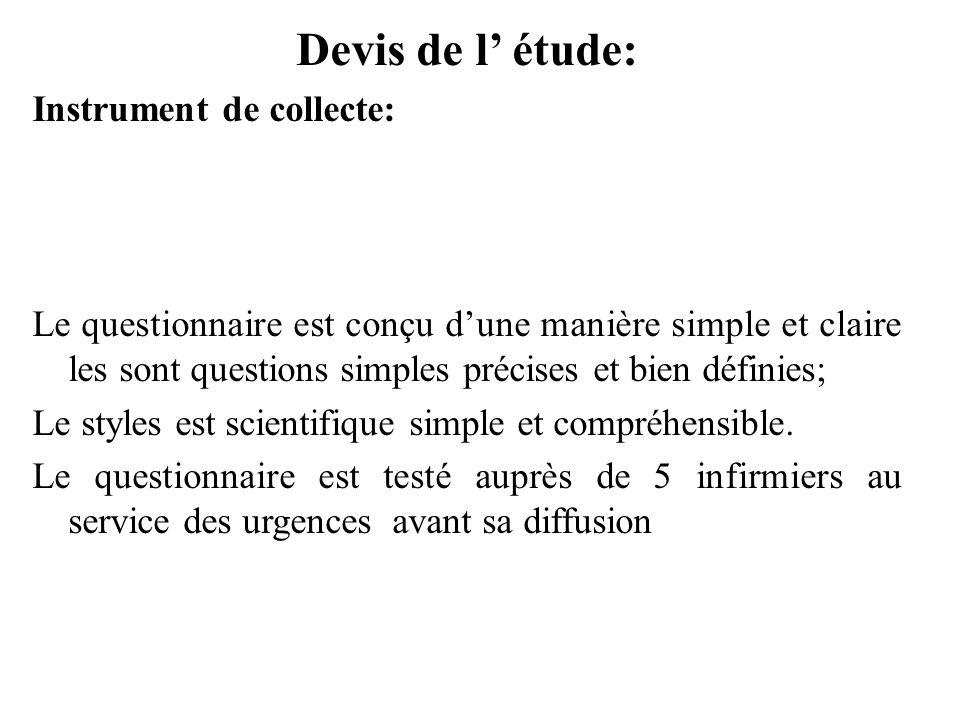 Devis de l étude: Instrument de collecte: Le questionnaire est conçu dune manière simple et claire les sont questions simples précises et bien définie
