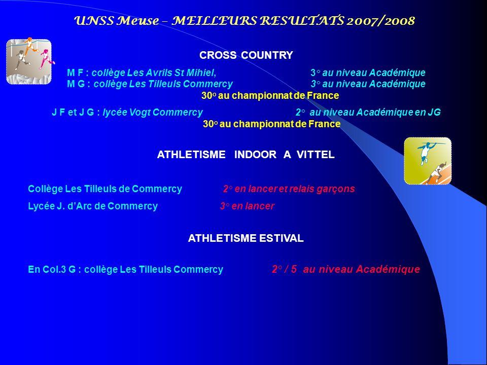 UNSS Meuse – MEILLEURS RESULTATS 2007/2008 CROSS COUNTRY M F : collège Les Avrils St Mihiel, 3° au niveau Académique M G : collège Les Tilleuls Commer