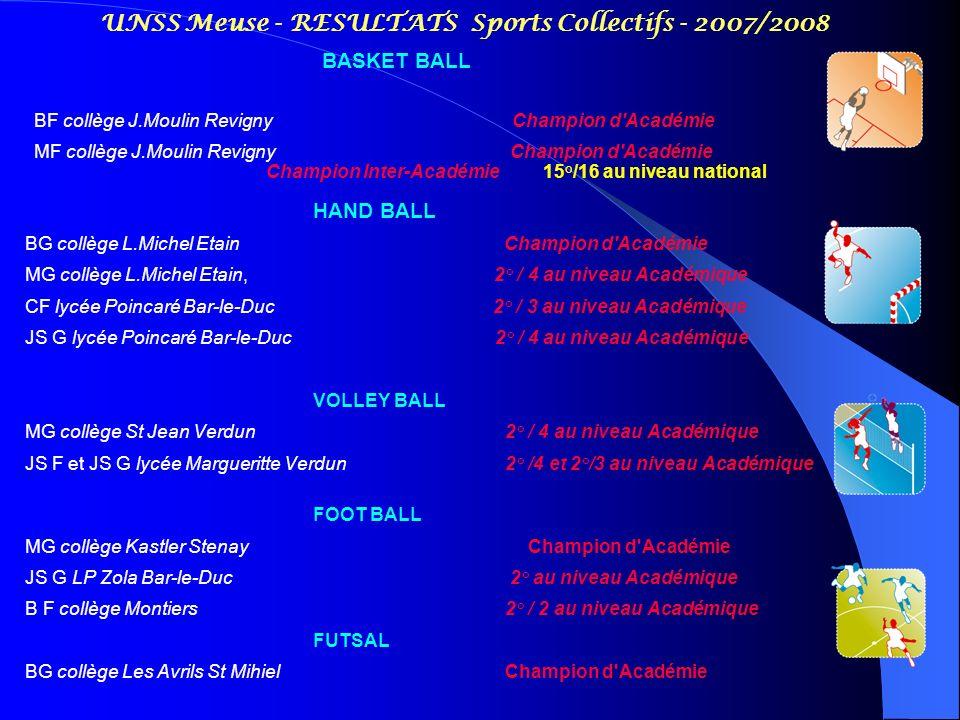 UNSS Meuse - RESULTATS Sports Collectifs - 2007/2008 HAND BALL BG collège L.Michel Etain Champion d'Académie MG collège L.Michel Etain, 2° / 4 au nive