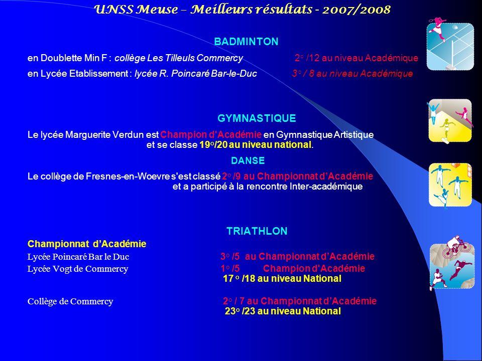 UNSS Meuse – Meilleurs résultats - 2007/2008 BADMINTON en Doublette Min F : collège Les Tilleuls Commercy 2° /12 au niveau Académique en Lycée Etablis