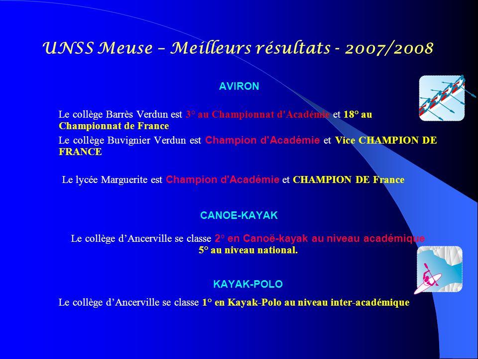 UNSS Meuse – Meilleurs résultats - 2007/2008 AVIRON Le collège Barrès Verdun est 3° au Championnat d'Académie et 18° au Championnat de France Le collè