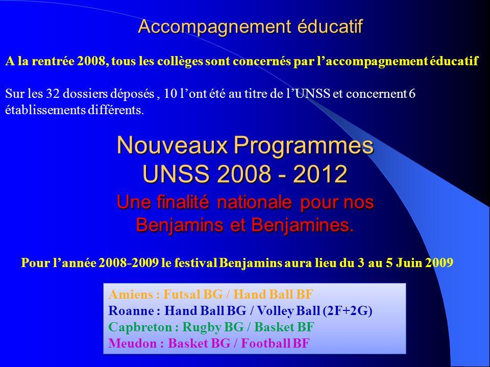 Nouveaux Programmes UNSS 2008 - 2012 Pour lannée 2008-2009 le festival Benjamins aura lieu du 3 au 5 Juin 2009 Une finalité nationale pour nos Benjami