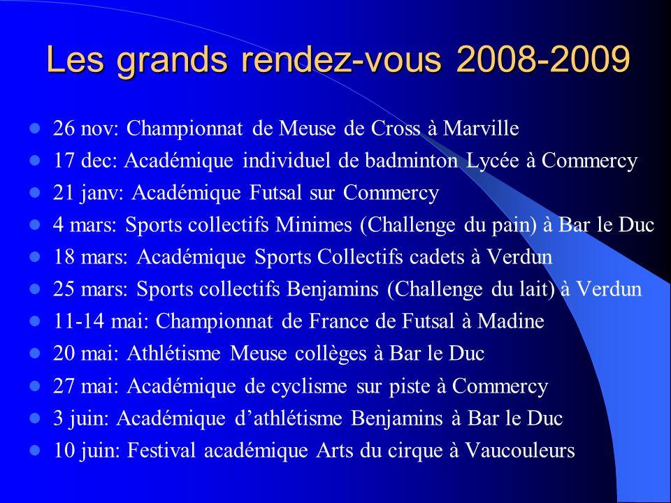 Les grands rendez-vous 2008-2009 26 nov: Championnat de Meuse de Cross à Marville 17 dec: Académique individuel de badminton Lycée à Commercy 21 janv: