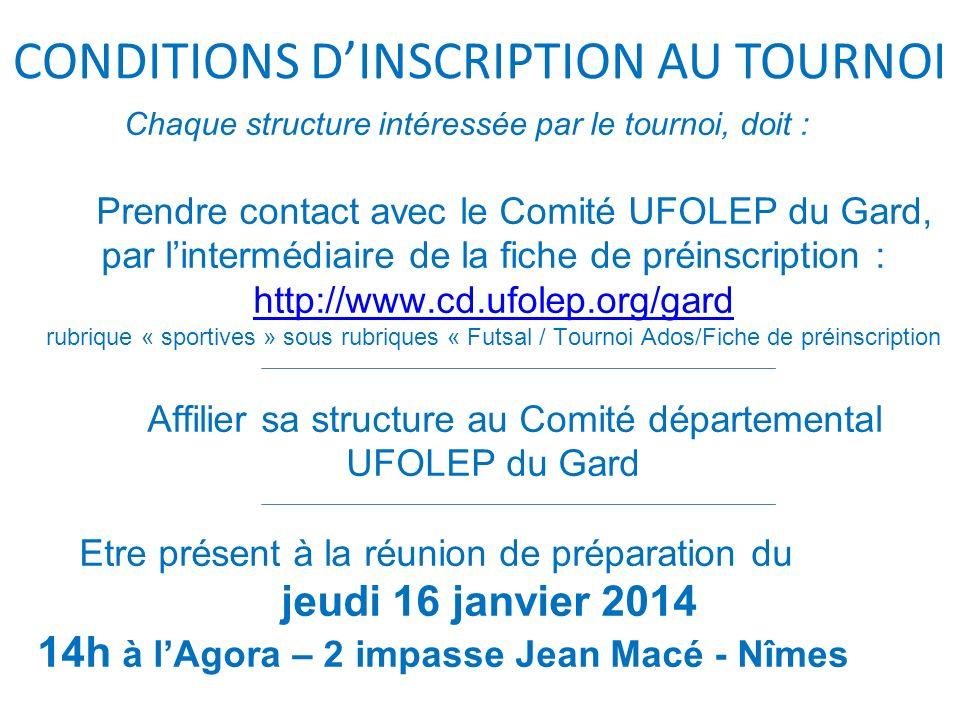 Chaque structure intéressée par le tournoi, doit : Prendre contact avec le Comité UFOLEP du Gard, par lintermédiaire de la fiche de préinscription : h