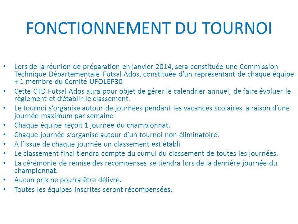 FONCTIONNEMENT DU TOURNOI Lors de la réunion de préparation en janvier 2014, sera constituée une Commission Technique Départementale Futsal Ados, cons