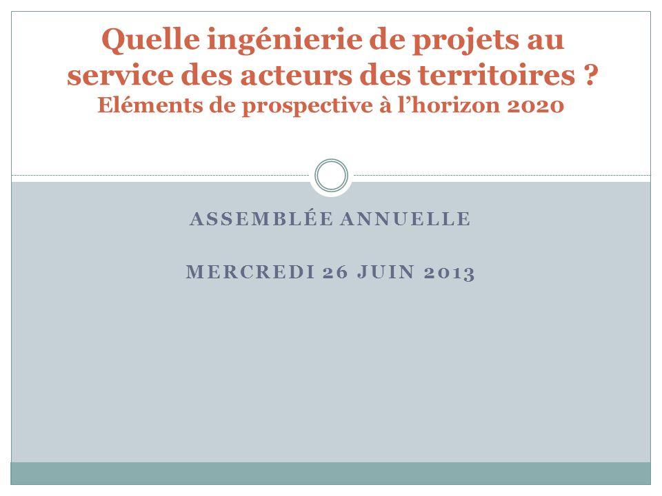ASSEMBLÉE ANNUELLE MERCREDI 26 JUIN 2013 Quelle ingénierie de projets au service des acteurs des territoires .