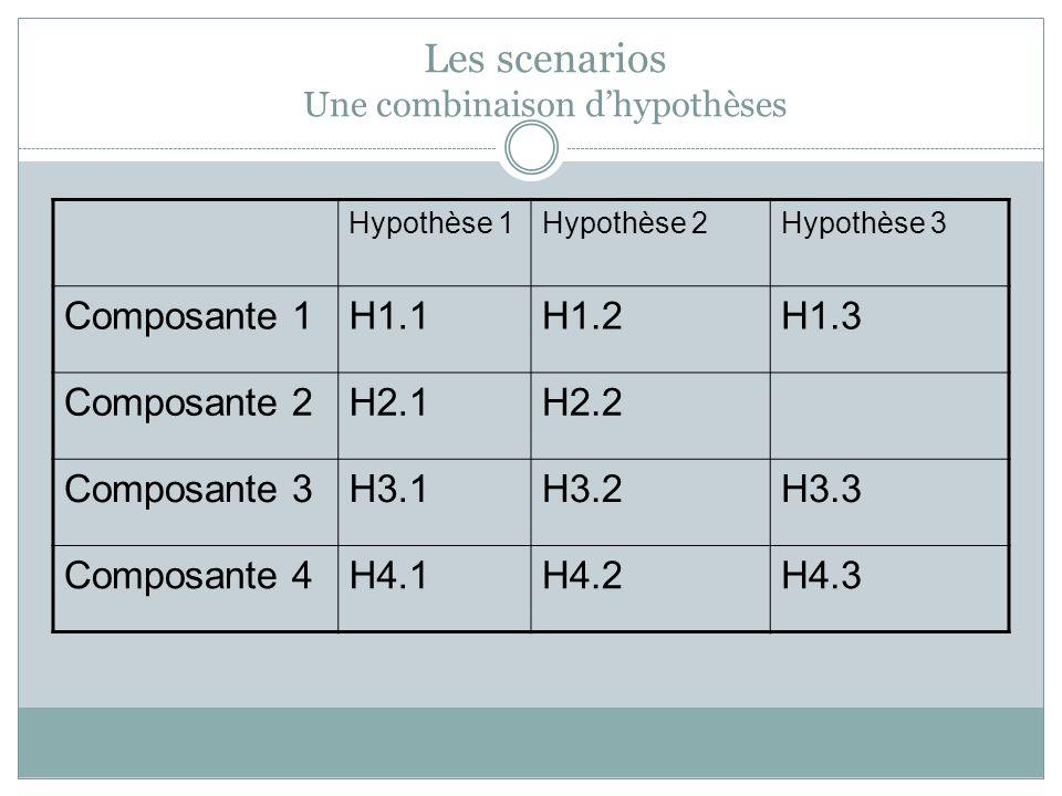 Hypothèse 1Hypothèse 2Hypothèse 3 Composante 1H1.1H1.2H1.3 Composante 2H2.1H2.2 Composante 3H3.1H3.2H3.3 Composante 4H4.1H4.2H4.3 Les scenarios Une combinaison dhypothèses