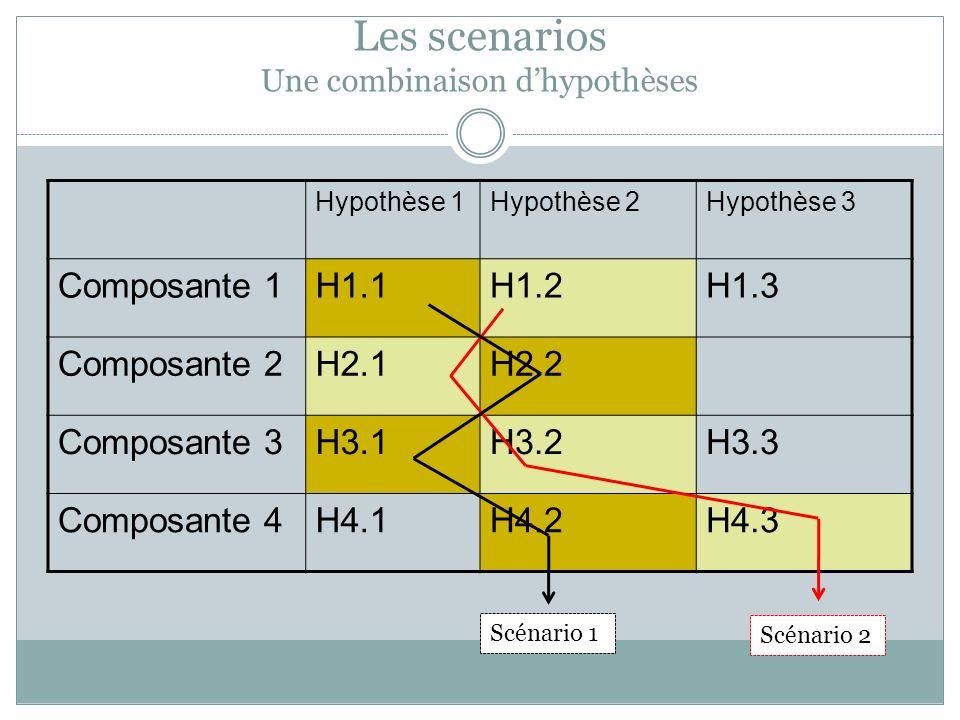 Hypothèse 1Hypothèse 2Hypothèse 3 Composante 1H1.1H1.2H1.3 Composante 2H2.1H2.2 Composante 3H3.1H3.2H3.3 Composante 4H4.1H4.2H4.3 Scénario 1 Scénario 2