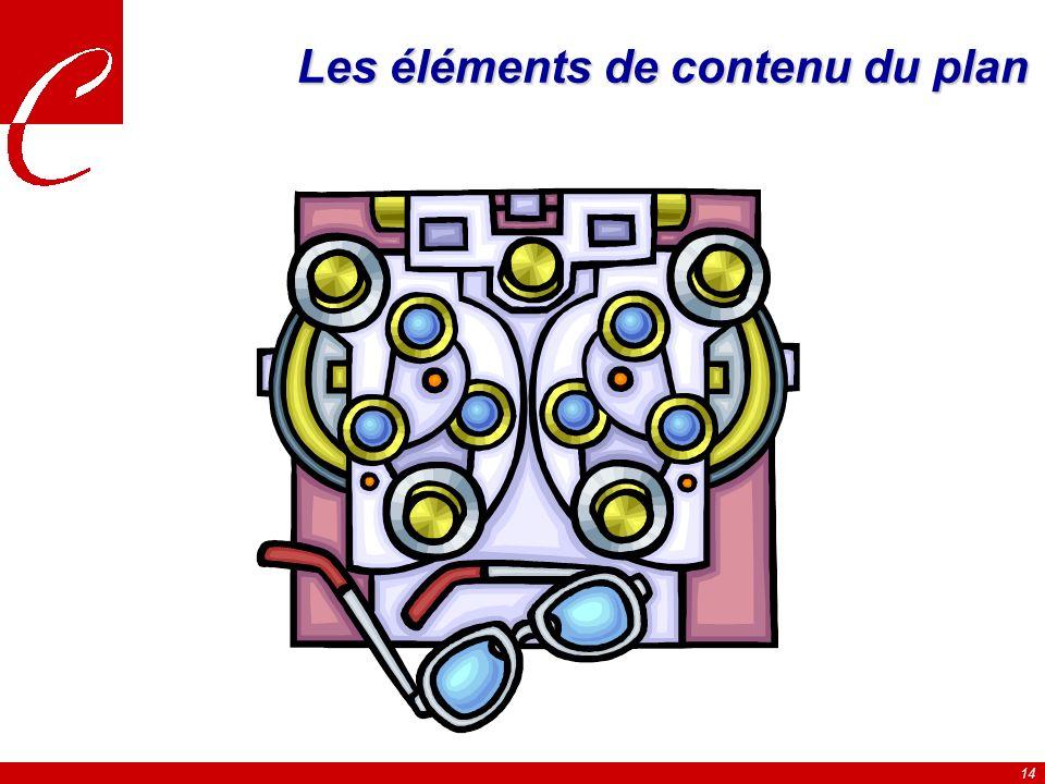14 Les éléments de contenu du plan