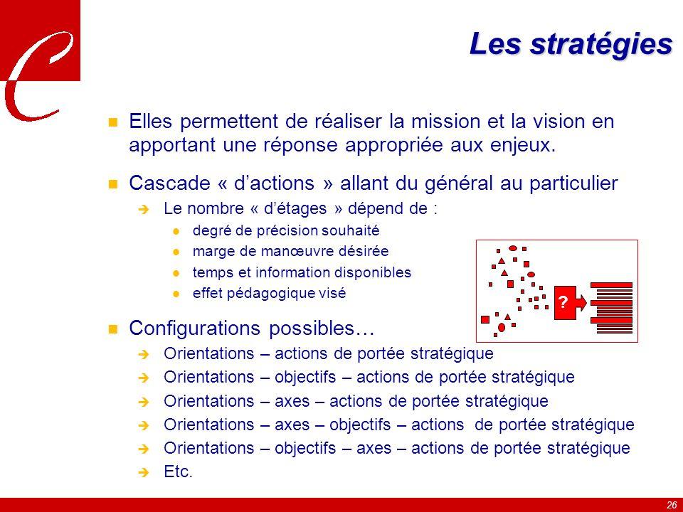 26 Les stratégies n Elles permettent de réaliser la mission et la vision en apportant une réponse appropriée aux enjeux.