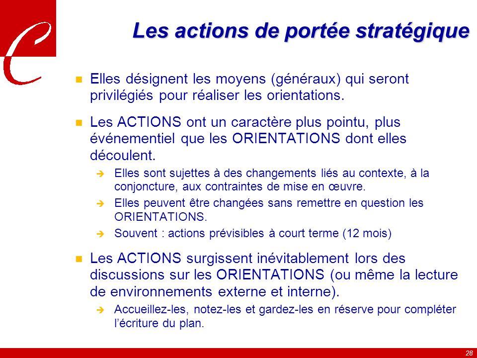 28 Les actions de portée stratégique n Elles désignent les moyens (généraux) qui seront privilégiés pour réaliser les orientations.