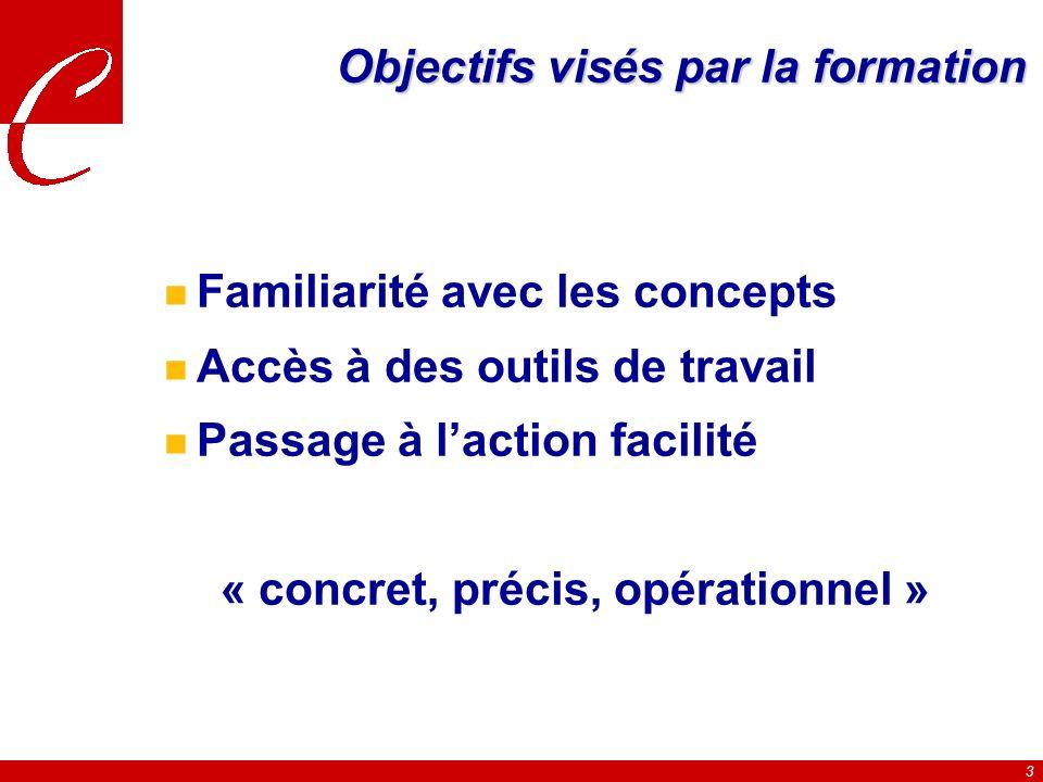 3 Objectifs visés par la formation n Familiarité avec les concepts n Accès à des outils de travail n Passage à laction facilité « concret, précis, opérationnel »
