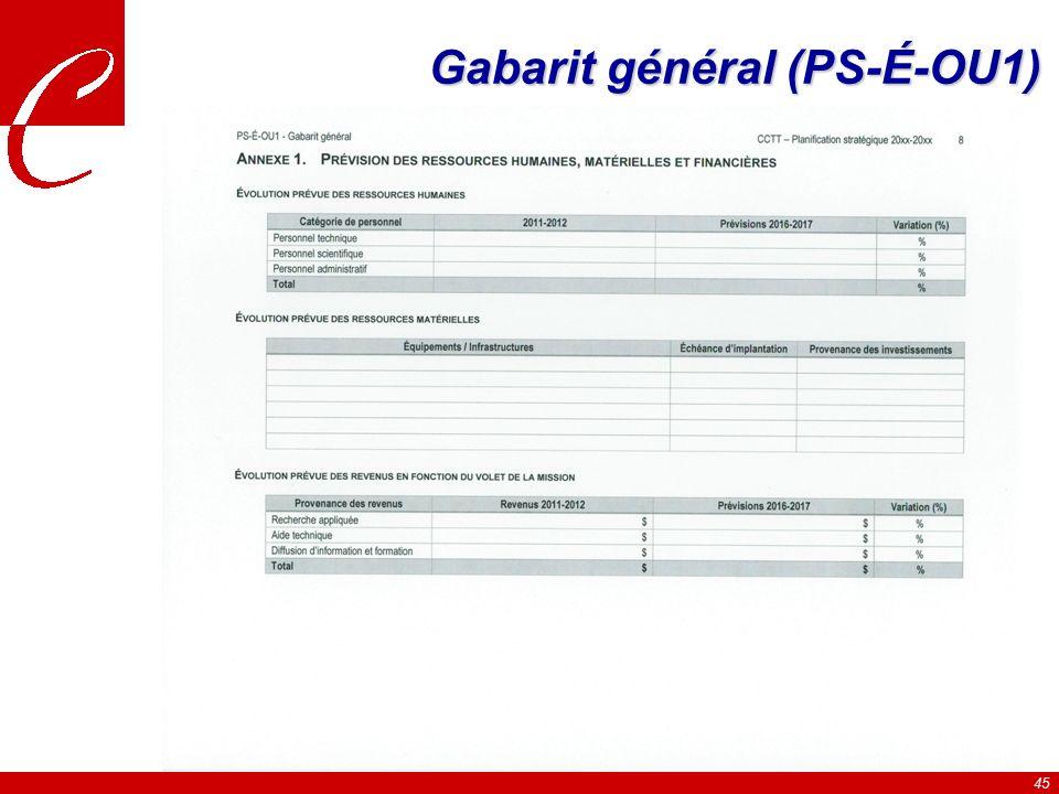 45 Gabarit général (PS-É-OU1)