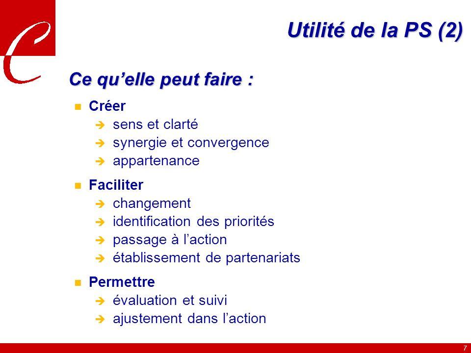 7 Utilité de la PS (2) Ce quelle peut faire : n Créer sens et clarté synergie et convergence appartenance n Faciliter changement identification des priorités passage à laction établissement de partenariats n Permettre évaluation et suivi ajustement dans laction