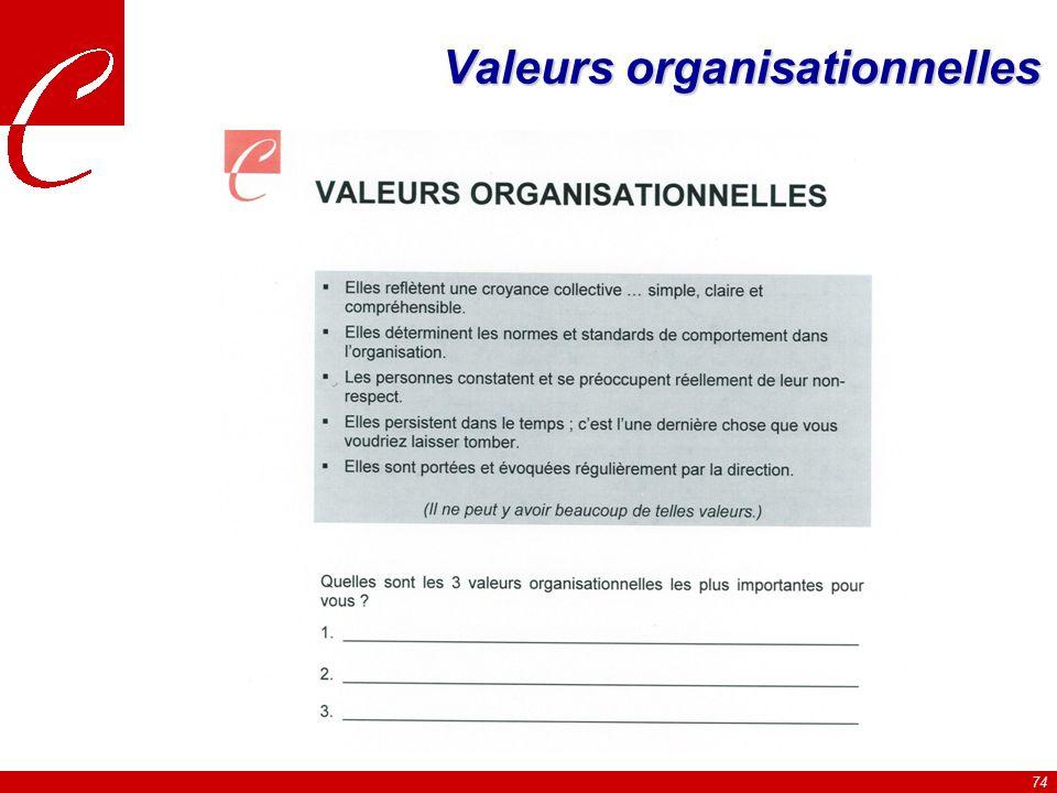 74 Valeurs organisationnelles