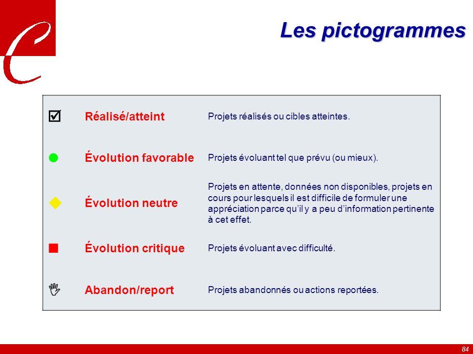84 Les pictogrammes Réalisé/atteint Projets réalisés ou cibles atteintes.