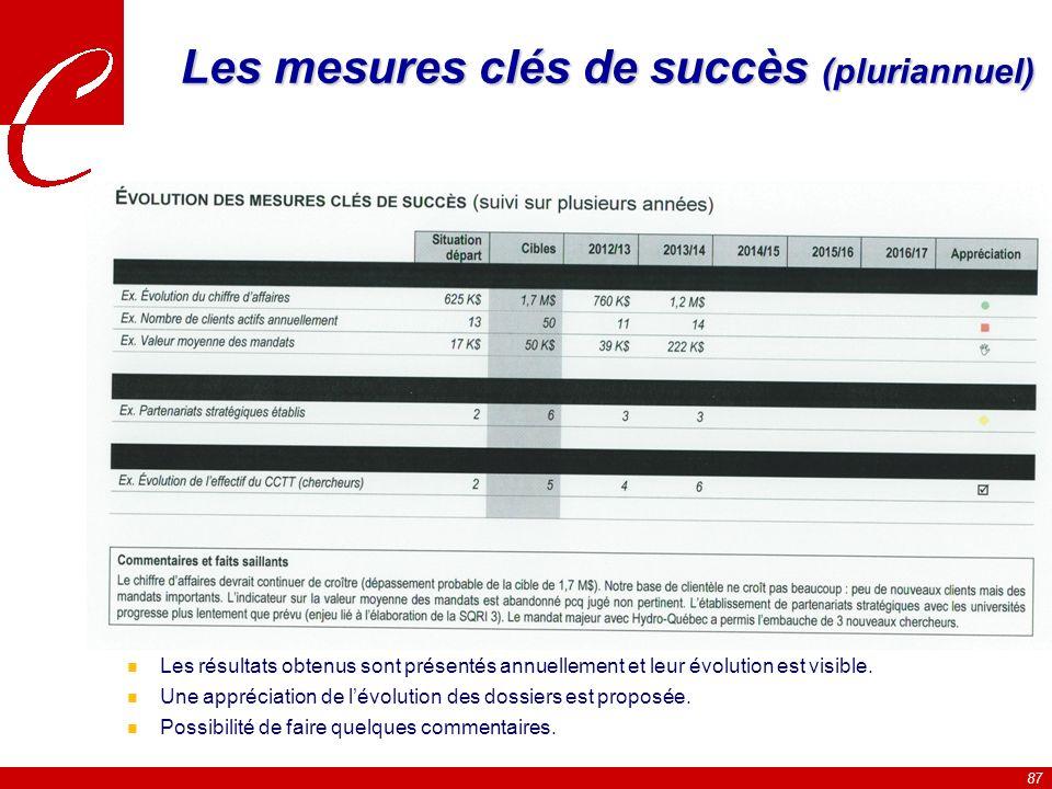 87 Les mesures clés de succès (pluriannuel) n La situation de départ ainsi que la cible finale sont indiquées.