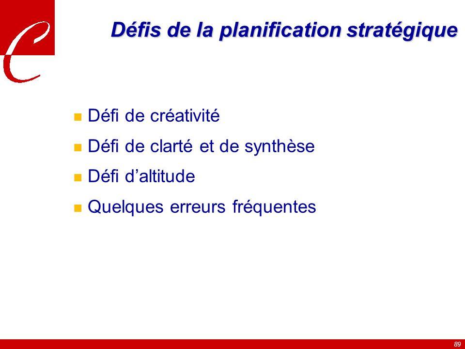 89 Défis de la planification stratégique n Défi de créativité n Défi de clarté et de synthèse n Défi daltitude n Quelques erreurs fréquentes