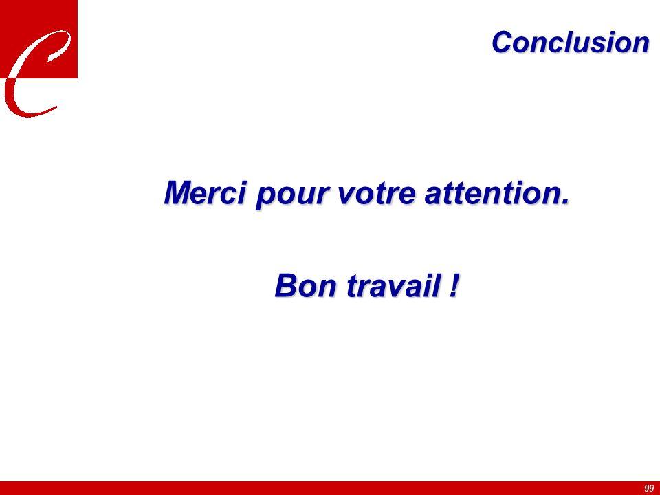 99 Conclusion Merci pour votre attention. Bon travail !