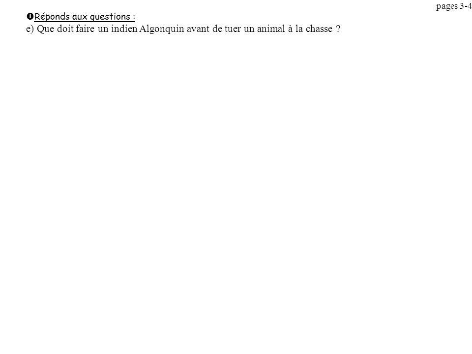 pages 3-4 Réponds aux questions : e) Que doit faire un indien Algonquin avant de tuer un animal à la chasse .