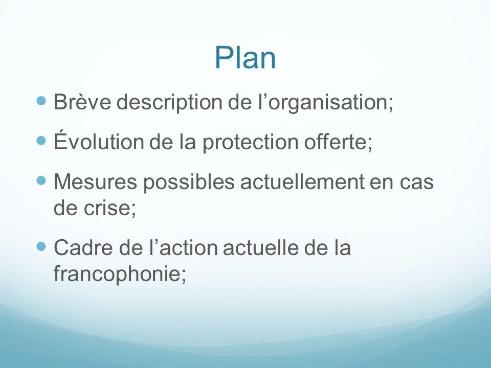 Plan Brève description de lorganisation; Évolution de la protection offerte; Mesures possibles actuellement en cas de crise; Cadre de laction actuelle