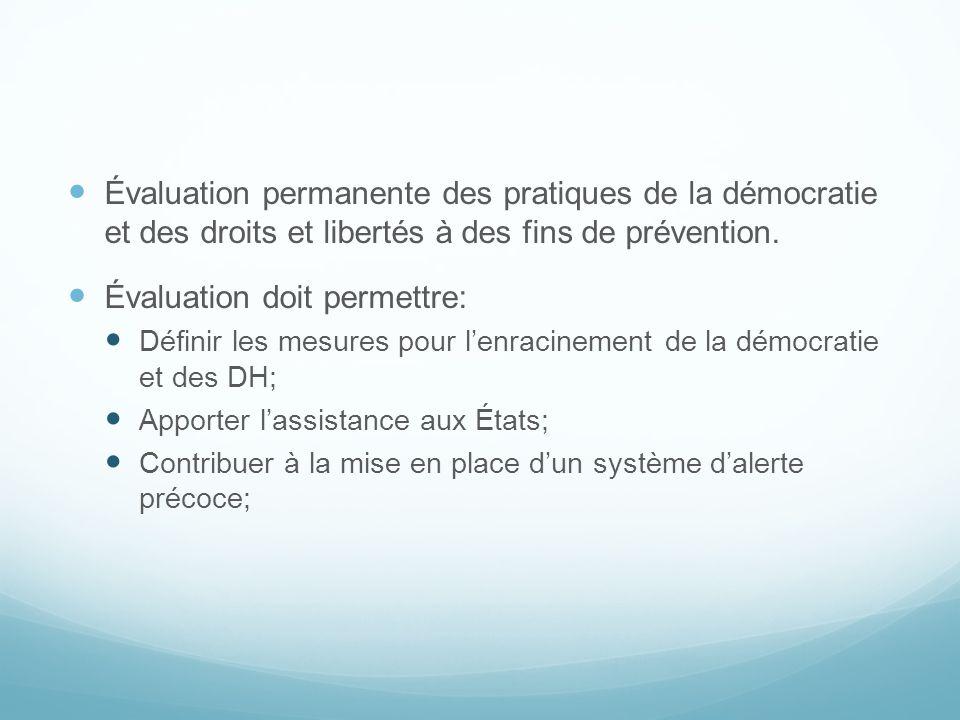 Évaluation permanente des pratiques de la démocratie et des droits et libertés à des fins de prévention. Évaluation doit permettre: Définir les mesure