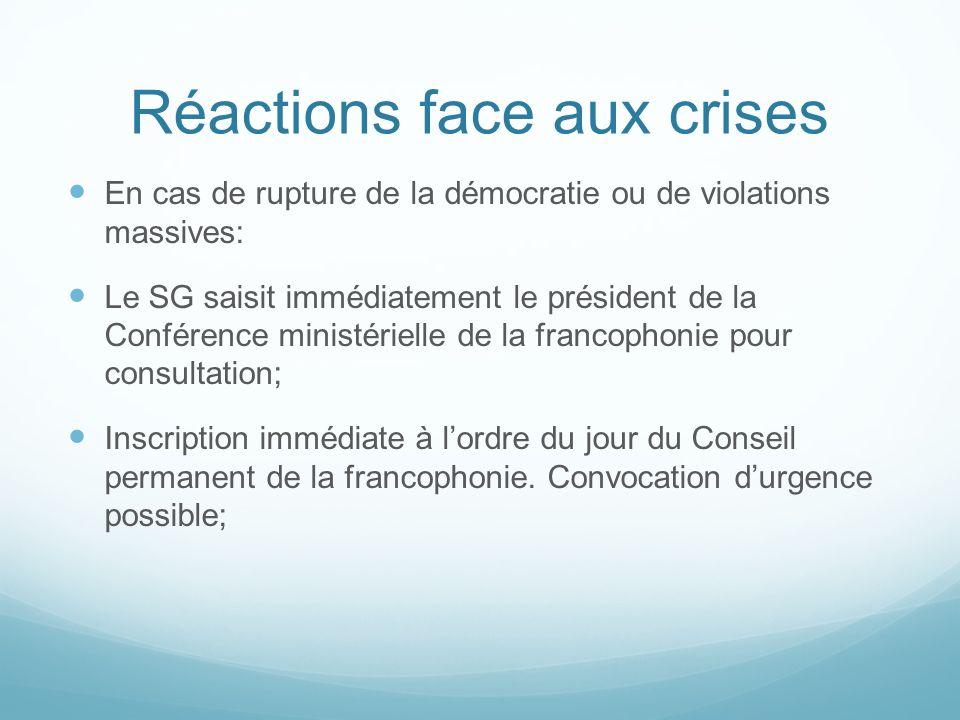 Réactions face aux crises En cas de rupture de la démocratie ou de violations massives: Le SG saisit immédiatement le président de la Conférence minis