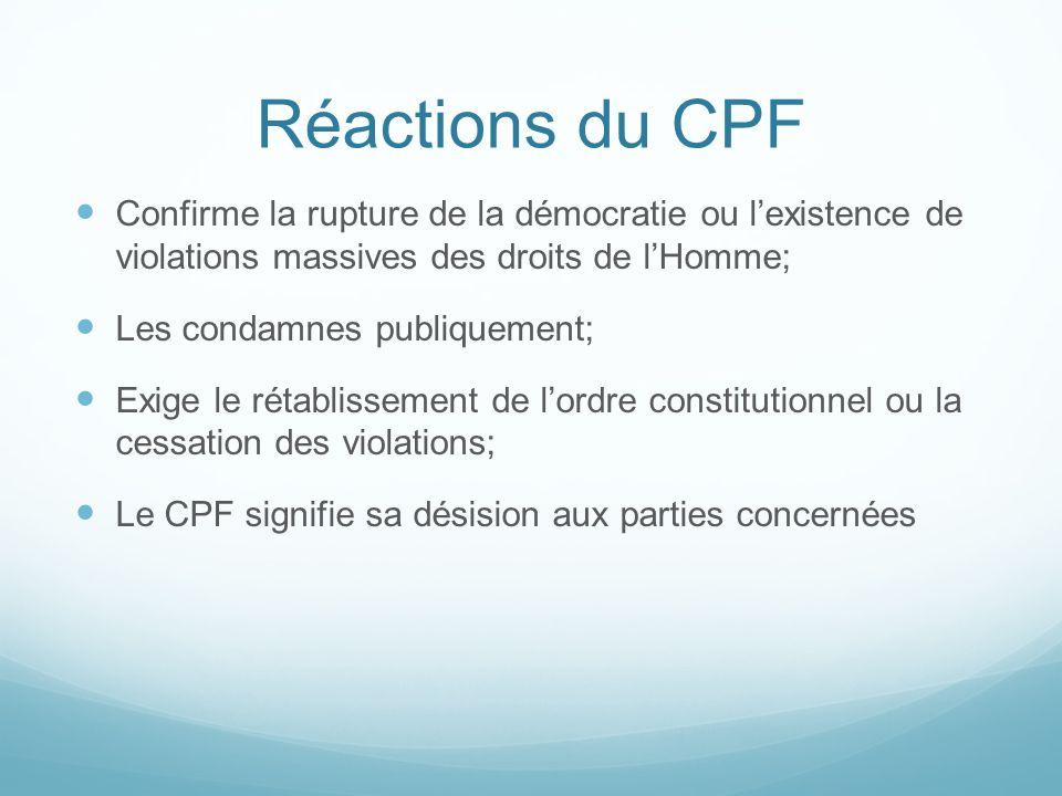 Réactions du CPF Confirme la rupture de la démocratie ou lexistence de violations massives des droits de lHomme; Les condamnes publiquement; Exige le