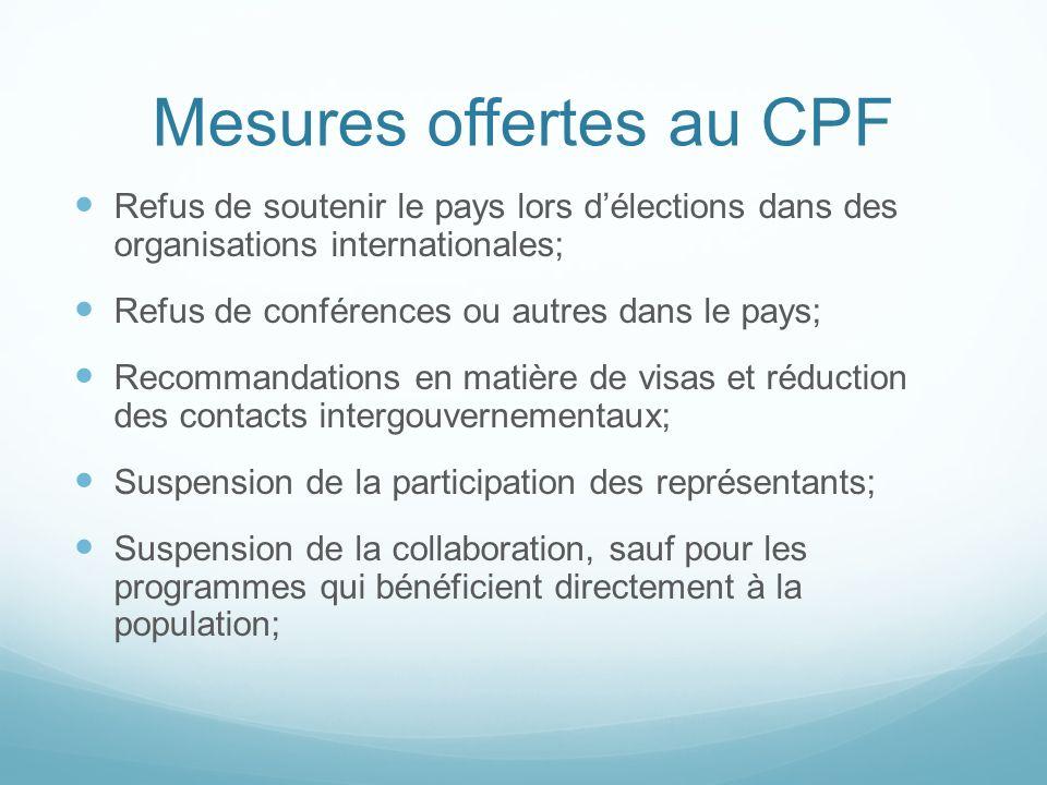 Mesures offertes au CPF Refus de soutenir le pays lors délections dans des organisations internationales; Refus de conférences ou autres dans le pays;