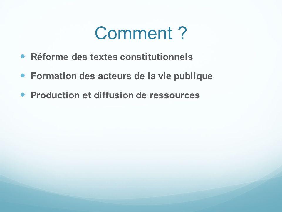 Comment ? Réforme des textes constitutionnels Formation des acteurs de la vie publique Production et diffusion de ressources