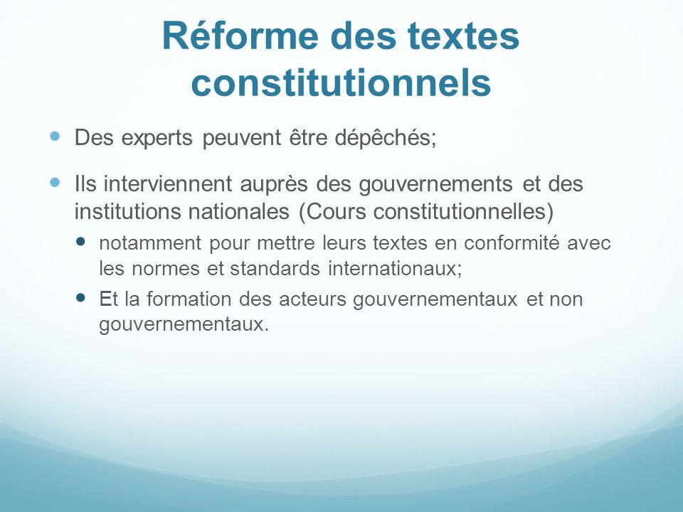 Réforme des textes constitutionnels Des experts peuvent être dépêchés; Ils interviennent auprès des gouvernements et des institutions nationales (Cour