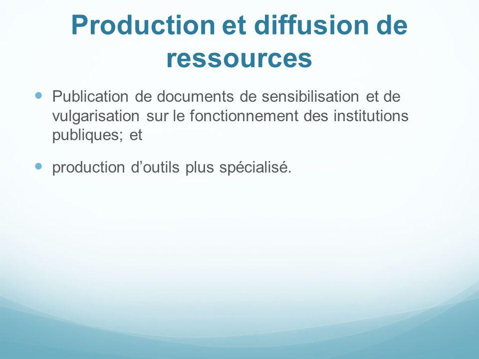 Production et diffusion de ressources Publication de documents de sensibilisation et de vulgarisation sur le fonctionnement des institutions publiques