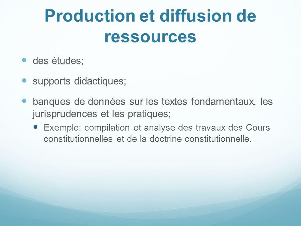 Production et diffusion de ressources des études; supports didactiques; banques de données sur les textes fondamentaux, les jurisprudences et les prat