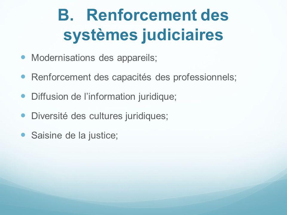 B.Renforcement des systèmes judiciaires Modernisations des appareils; Renforcement des capacités des professionnels; Diffusion de linformation juridiq