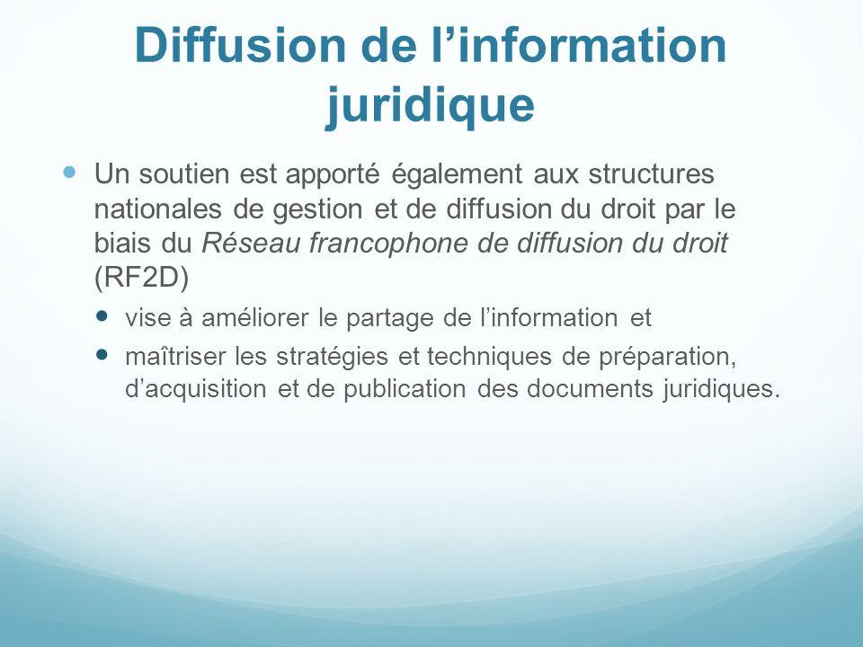 Diffusion de linformation juridique Un soutien est apporté également aux structures nationales de gestion et de diffusion du droit par le biais du Rés