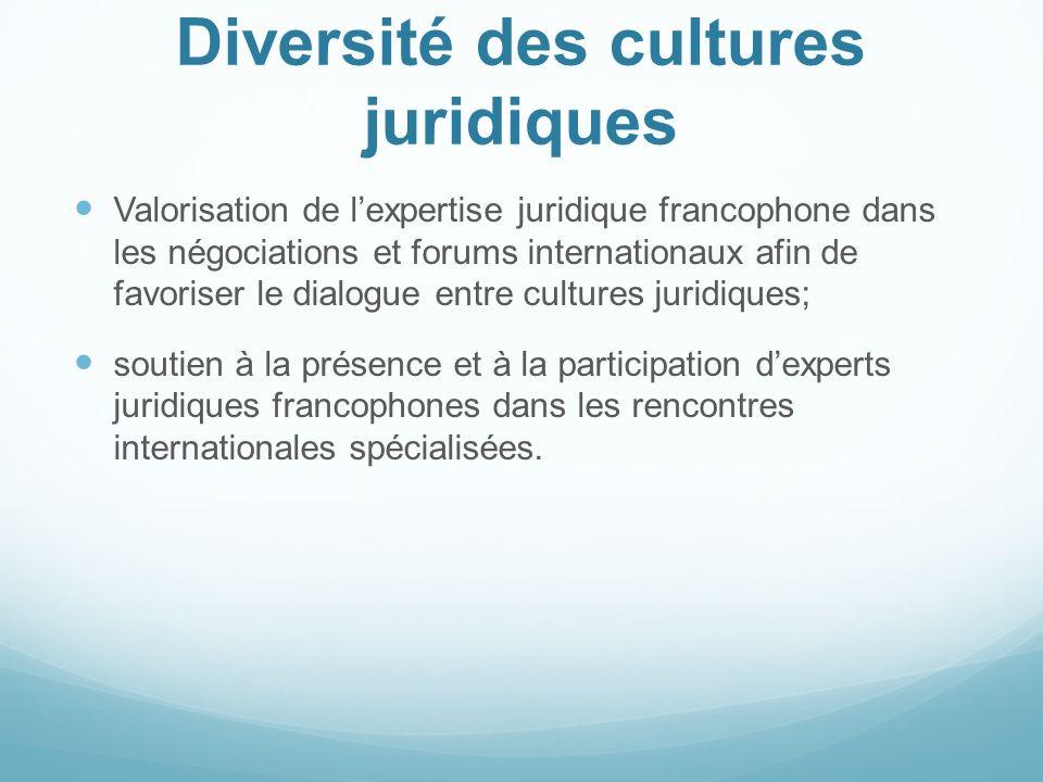 Diversité des cultures juridiques Valorisation de lexpertise juridique francophone dans les négociations et forums internationaux afin de favoriser le