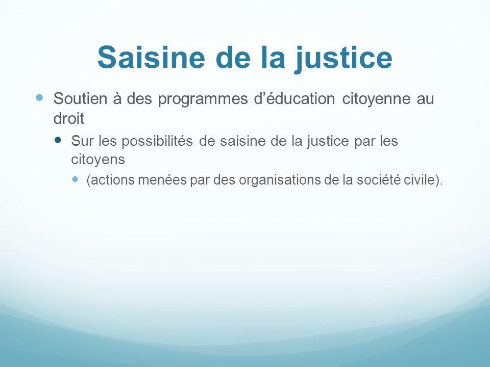 Saisine de la justice Soutien à des programmes déducation citoyenne au droit Sur les possibilités de saisine de la justice par les citoyens (actions m