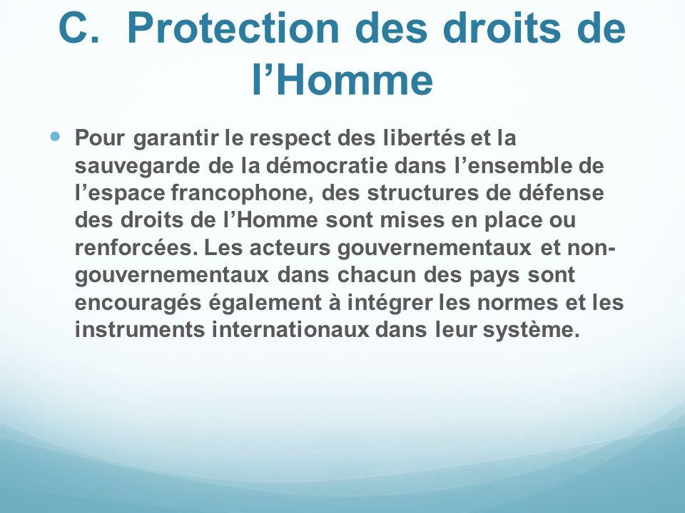 C.Protection des droits de lHomme Pour garantir le respect des libertés et la sauvegarde de la démocratie dans lensemble de lespace francophone, des s