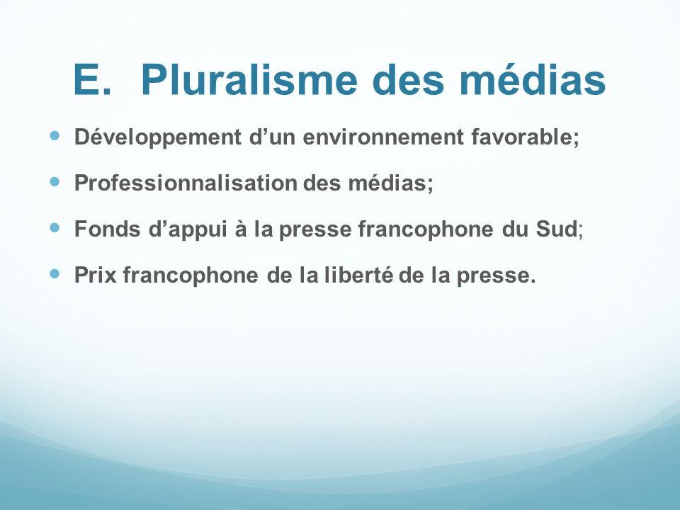 E.Pluralisme des médias Développement dun environnement favorable; Professionnalisation des médias; Fonds dappui à la presse francophone du Sud; Prix