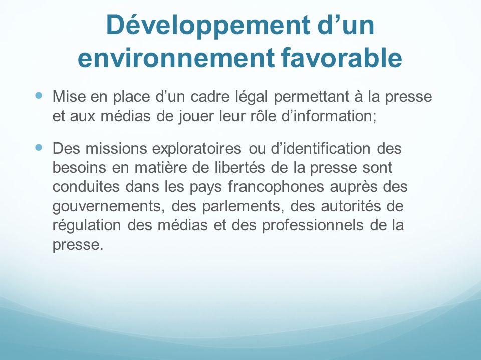Développement dun environnement favorable Mise en place dun cadre légal permettant à la presse et aux médias de jouer leur rôle dinformation; Des miss
