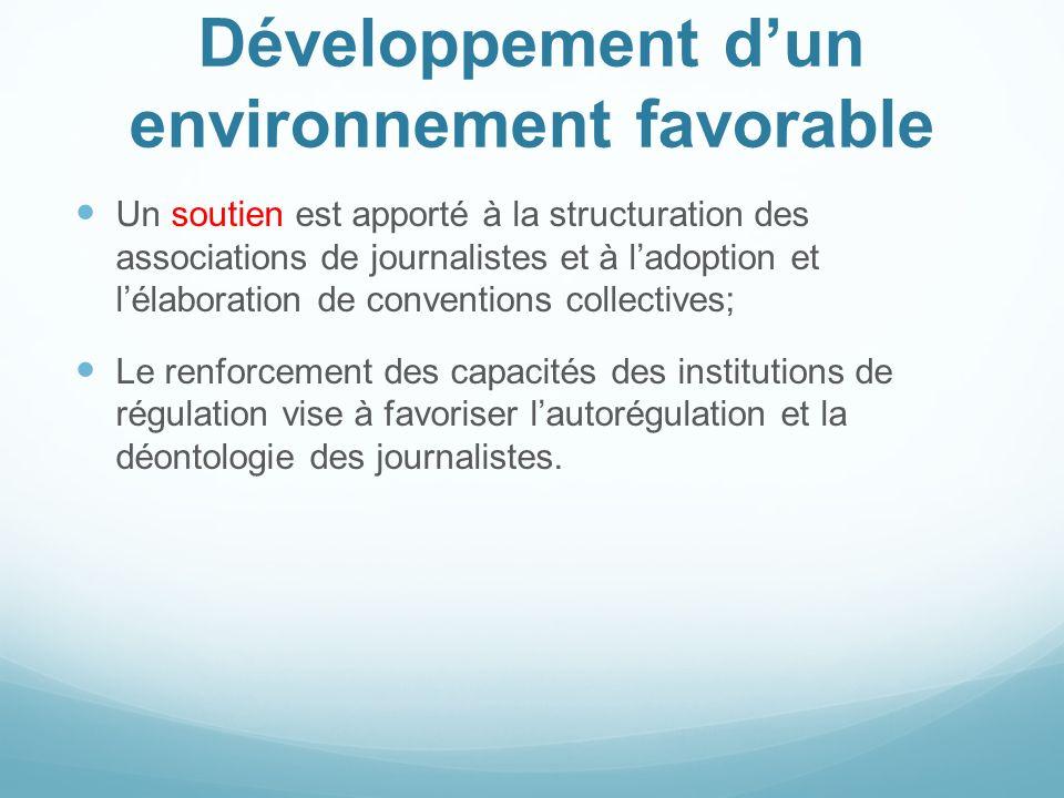 Développement dun environnement favorable Un soutien est apporté à la structuration des associations de journalistes et à ladoption et lélaboration de