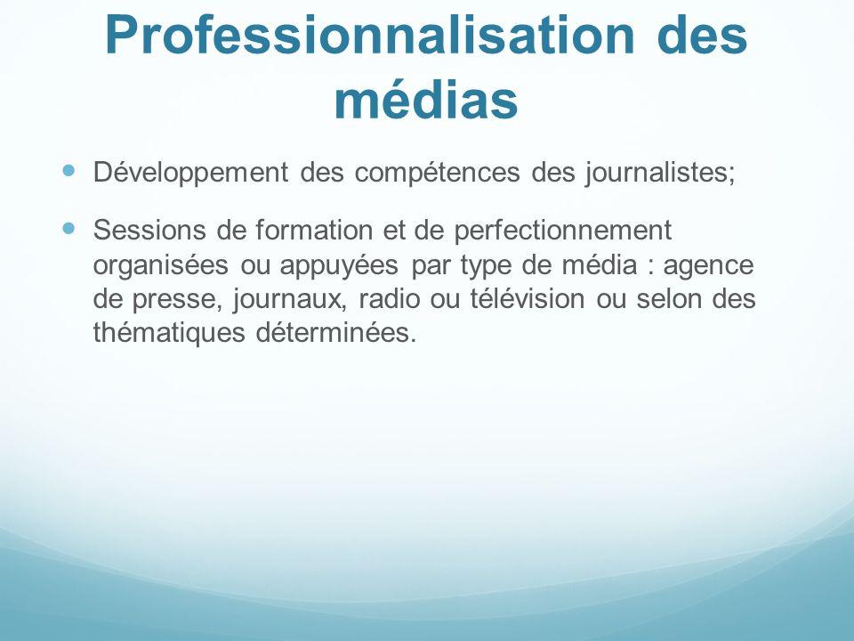 Professionnalisation des médias Développement des compétences des journalistes; Sessions de formation et de perfectionnement organisées ou appuyées pa