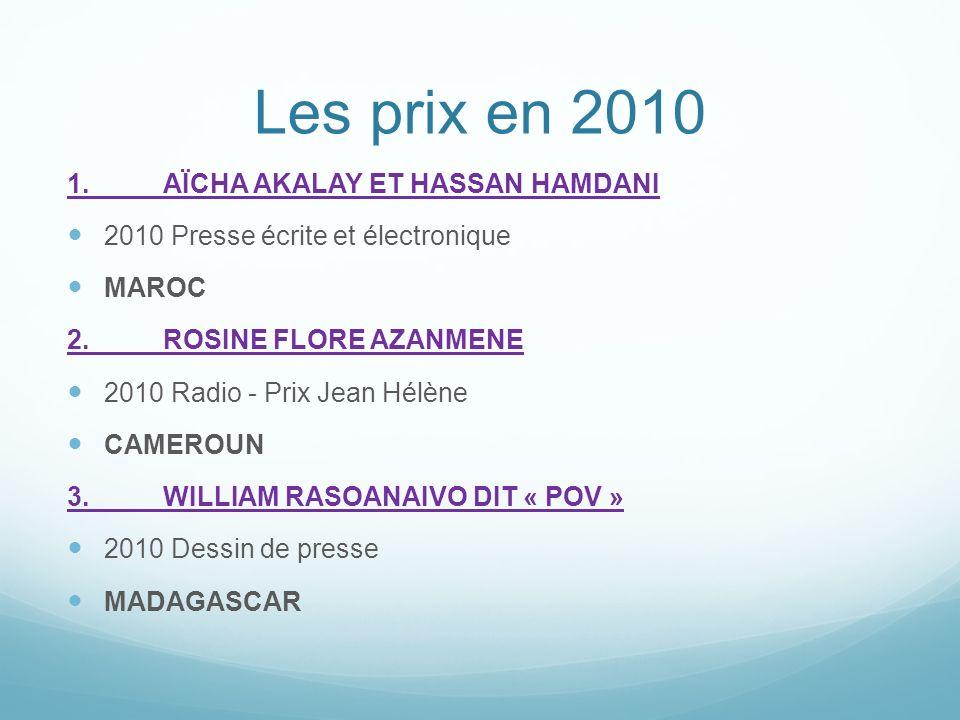 Les prix en 2010 1.AÏCHA AKALAY ET HASSAN HAMDANI 2010 Presse écrite et électronique MAROC 2.ROSINE FLORE AZANMENE 2010 Radio - Prix Jean Hélène CAMER