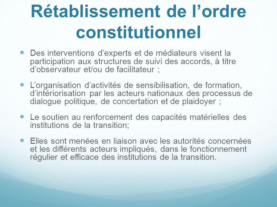Rétablissement de lordre constitutionnel Des interventions dexperts et de médiateurs visent la participation aux structures de suivi des accords, à ti