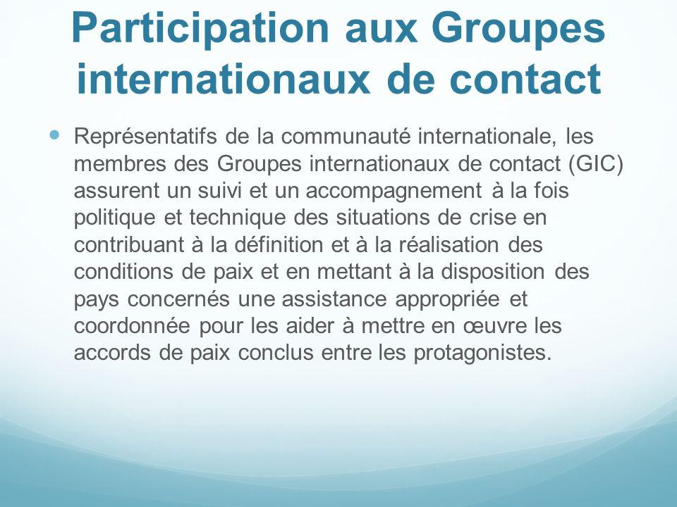 Participation aux Groupes internationaux de contact Représentatifs de la communauté internationale, les membres des Groupes internationaux de contact