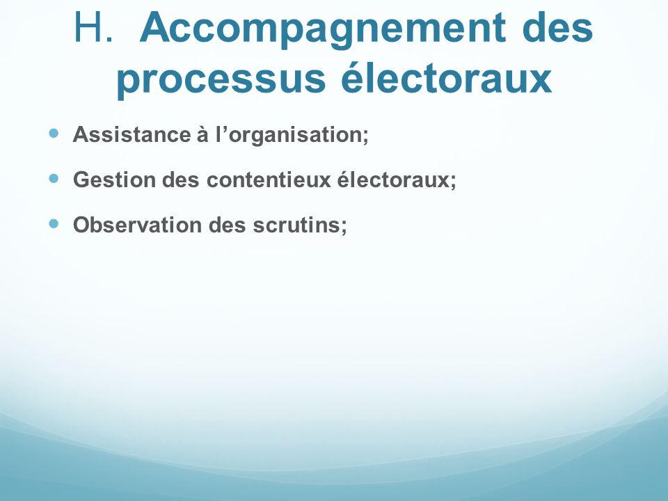 H.Accompagnement des processus électoraux Assistance à lorganisation; Gestion des contentieux électoraux; Observation des scrutins;