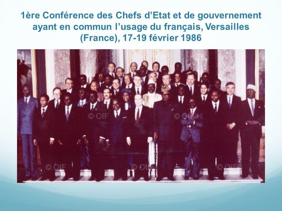 1ère Conférence des Chefs dEtat et de gouvernement ayant en commun lusage du français, Versailles (France), 17-19 février 1986